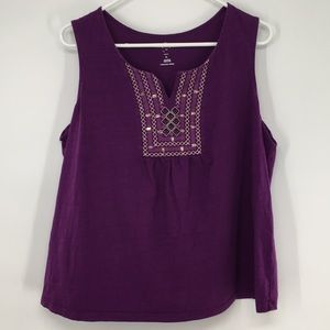 Women's Purple Embroidered Tank Top